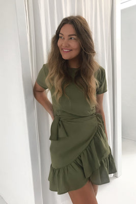 Agnes Dress - Dusty Green