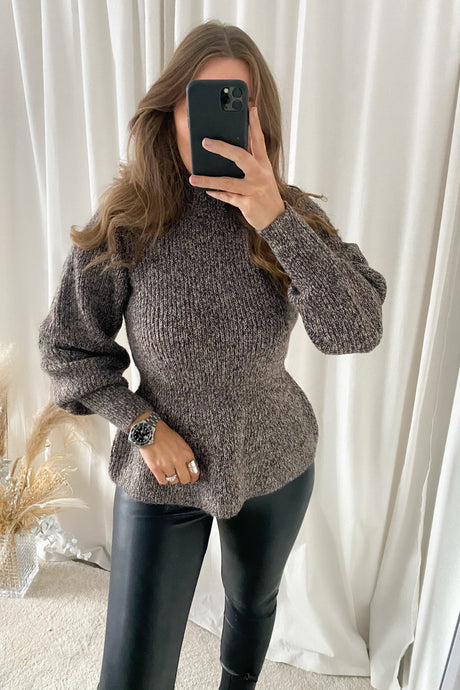Pepper L/S Highneck Blouse - Brown