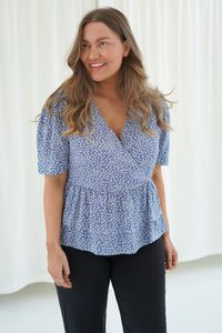 Flora Top - Blue Printed Small Flower