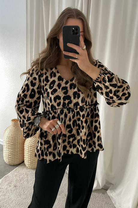 Michas Long Sleeved Blouse - Brown Leo Print