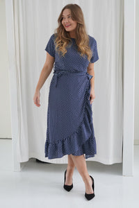 Agnete Dress - Navy/white dots