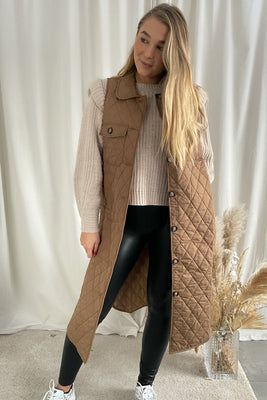 Katja S/L Long Quilted Vest - Brown