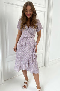 Long Mille Dress - White/Purple Flower Print