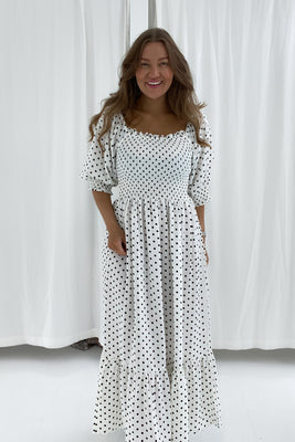 Marie Dress - White With Black Dots