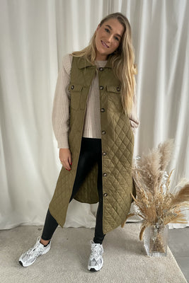Katja S/L Long Quilted Vest - Green