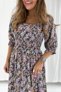 Marie Dress - Purple Mix Print