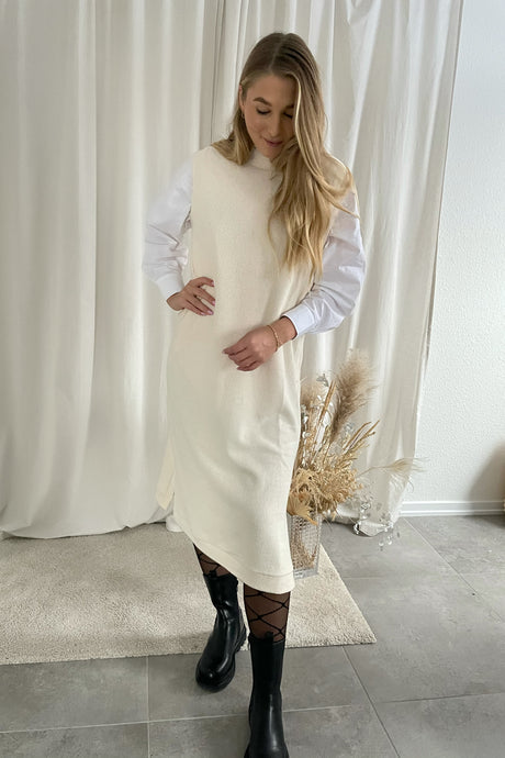 Marie S/L Long Dress - White