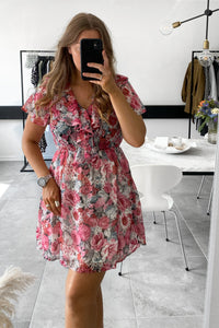 Rose Sofia S/S Short Dress - Rose Print