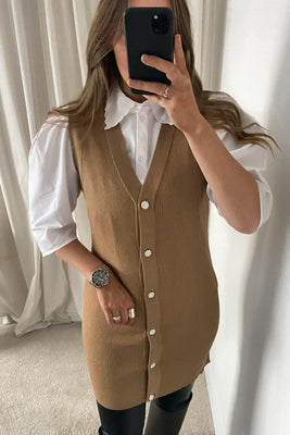 Paline S/L Long Knit Vest - Brown