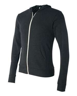 Unisex Tri-blend Lightweight Full-Zip Hooded Long Sleeve