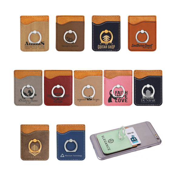 Laserable Leatherette Phone Wallet with Silver Ring