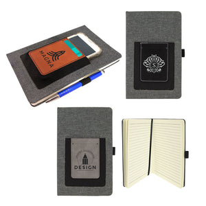 Laserable Leatherette Journal with Cell/Card Slot