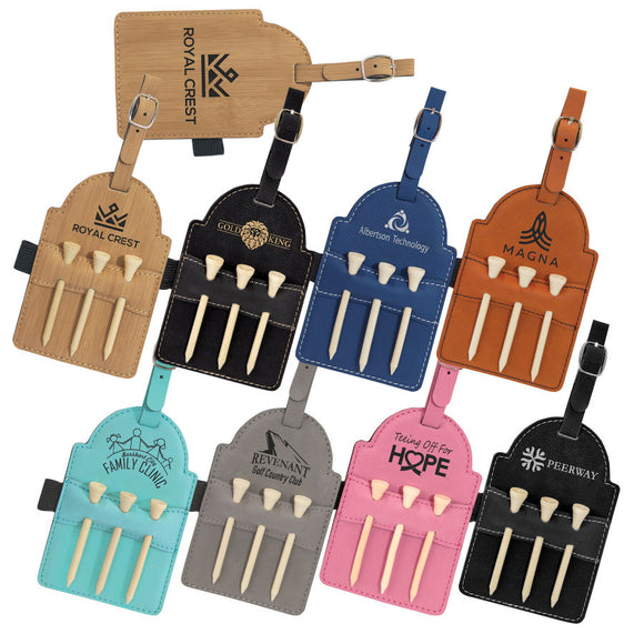 Golf Bag Tag with 3 Wooden Tees