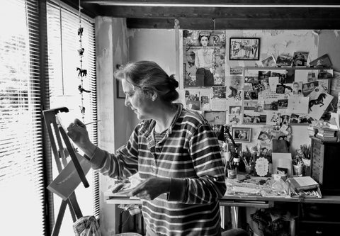 Julia Bird an artist at work in her studio in Brittany