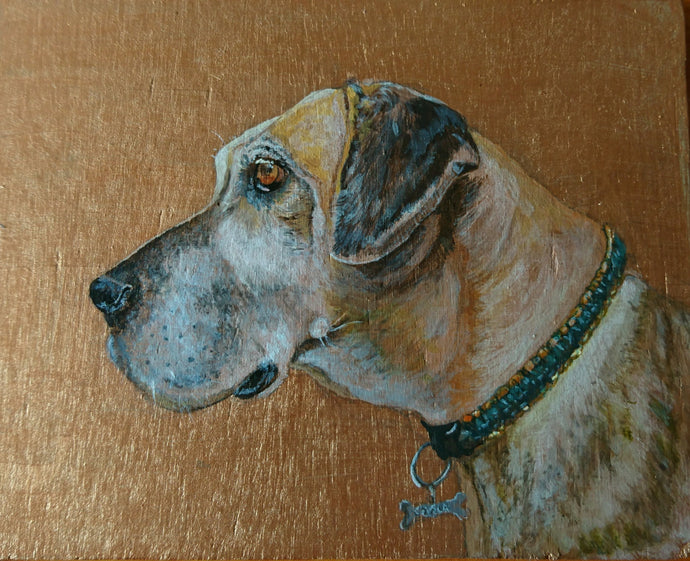 Commission - Acrylic Pet Portrait on reclaimed wood or slate