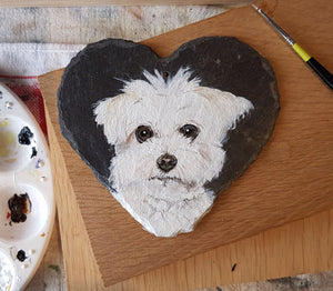 Commission - Acrylic Pet Portrait on a slate heart