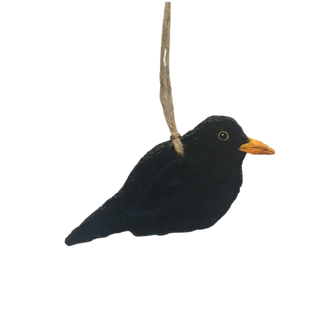 Decoration : Blackbird - Hand-painted on vintage slate