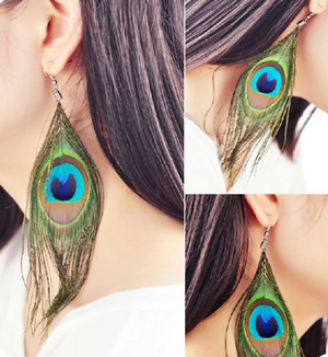 Simple Peacock Feather Vintage Luxury Earrings
