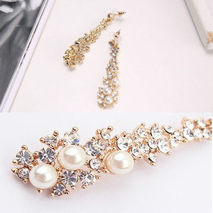 Pearl Rhinestone Dangle Chandelier Earrings