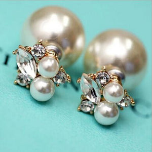 Double Sided Shining Pearl Stud Earrings