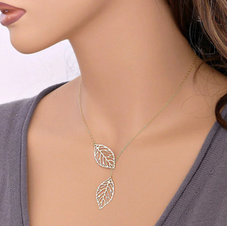 Femme Clavicle Necklace Gold Silver Plated Leaf Design