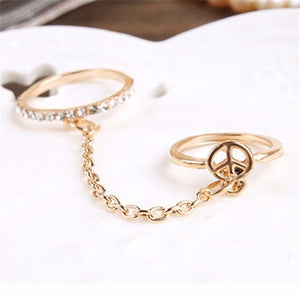 Women Double Ring Alloy Foliage Wedding Love