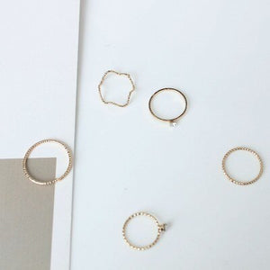 5pcs/Set Gold Twist Geometric Ring For Women