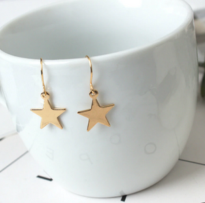 Flake Geometry Lovely Pentagram Golden Earrings