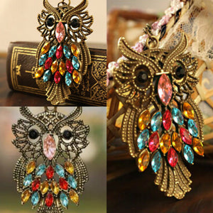 legant Colorful Rhinestone Bronze Owl Pendant Necklace Long Chain