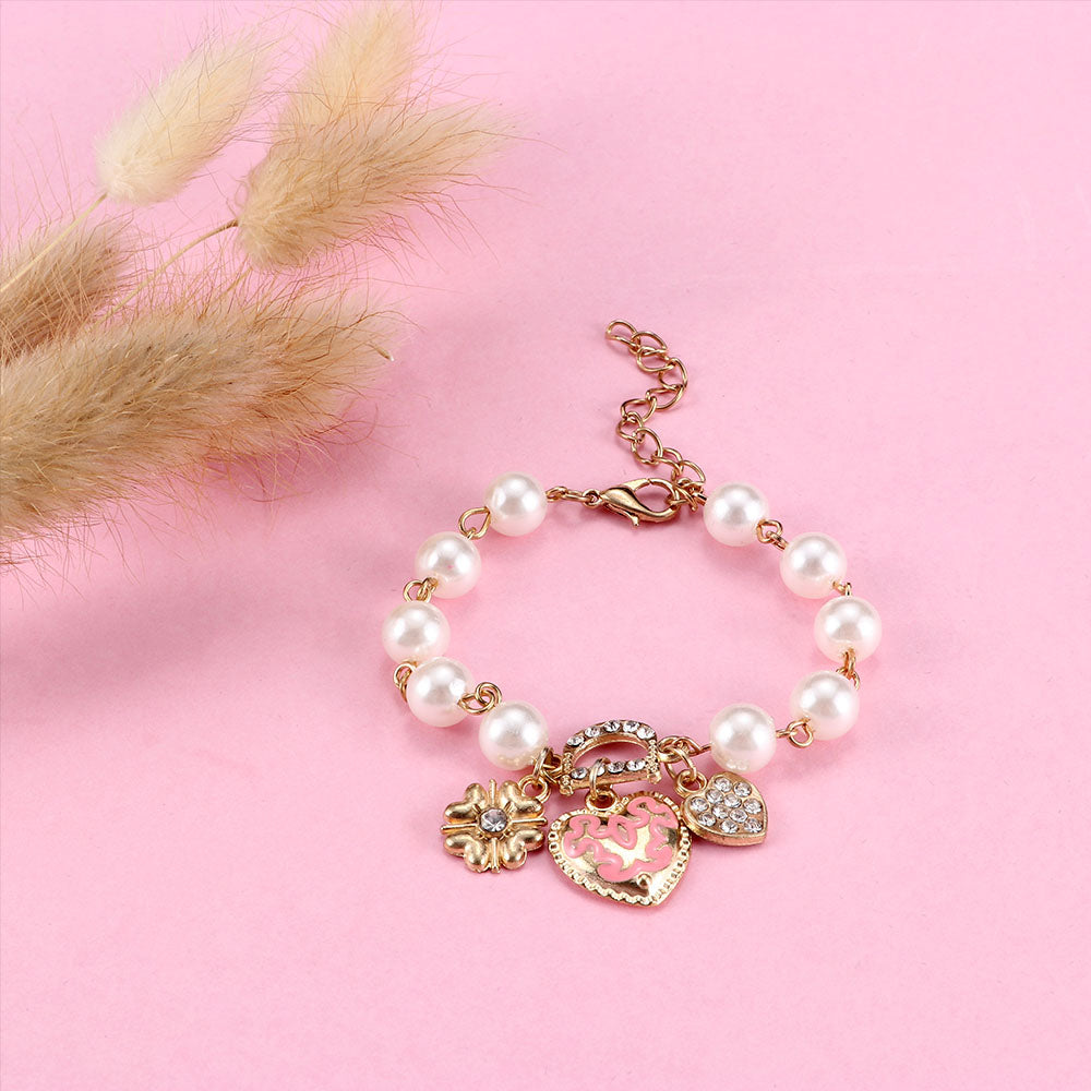 Bracelets Charm Heart Flower Simulated Pearl Crystal