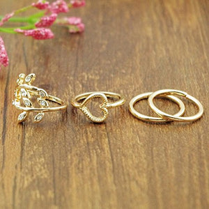 CieKen Fashion Gold Plated Leaf Heart Joint Knuckle Nail Ring Set