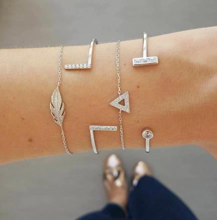 Irregular Geometric Triangle Leaf Bracelet