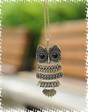 vintage owl long necklace  Chain bronze and old silver
