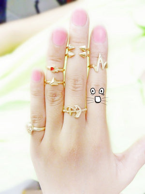 New trend accessories alloy punk rivets mid finger rings gold plated