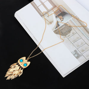 Hot Vintage Leaves Owl Necklace Pendant  Long Chain