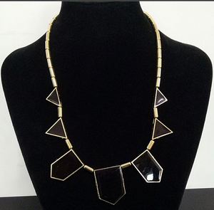 Geometric Pendant Necklace Black