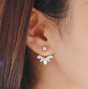 Zircon Crystal Clip Leaf Stud Earrings