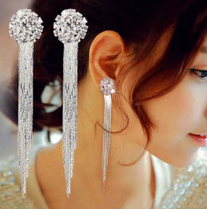 Temperament Crystal Tassel Earrings