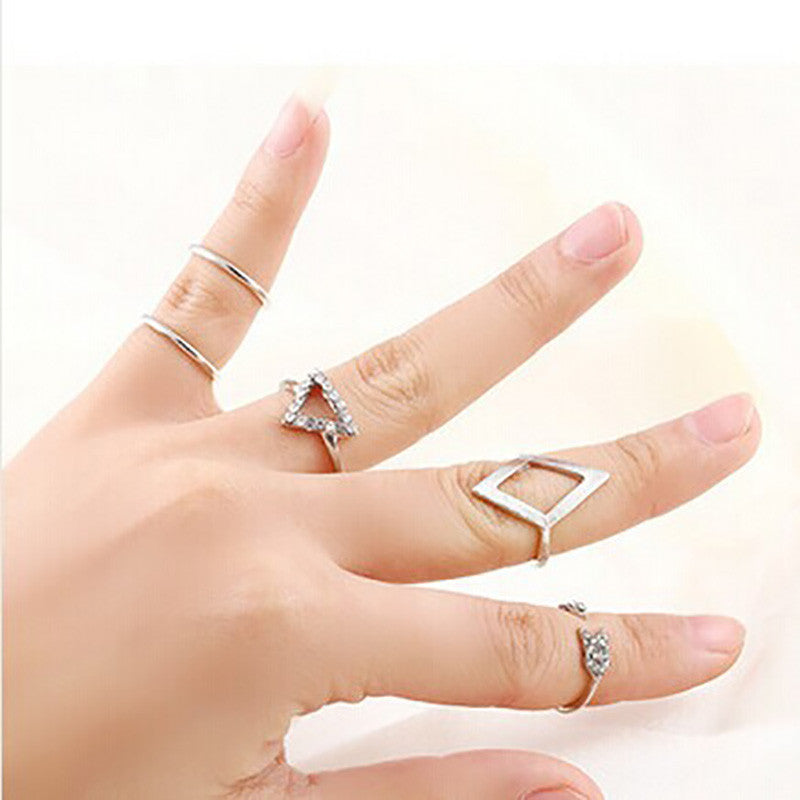 5 pieces/set Crystal Triangle Ring Set