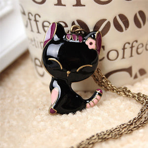 Vintage sweater  Women Cat Pendant Necklace Antique