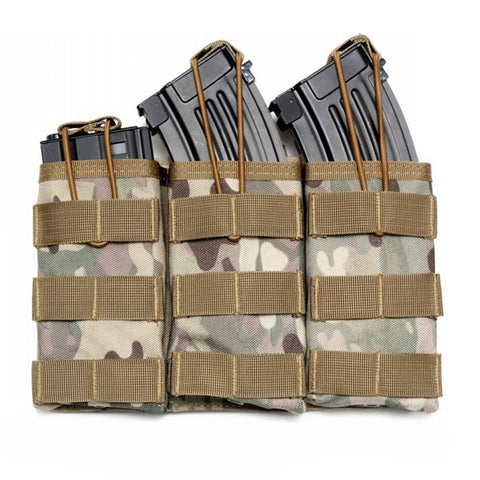 Tactical 5.56 7.62 Triple Open Top Magazine Mag Pouch MOLLE