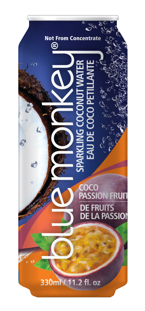 Blue Monkey Sparkling Coconut Water with Passion Fruit