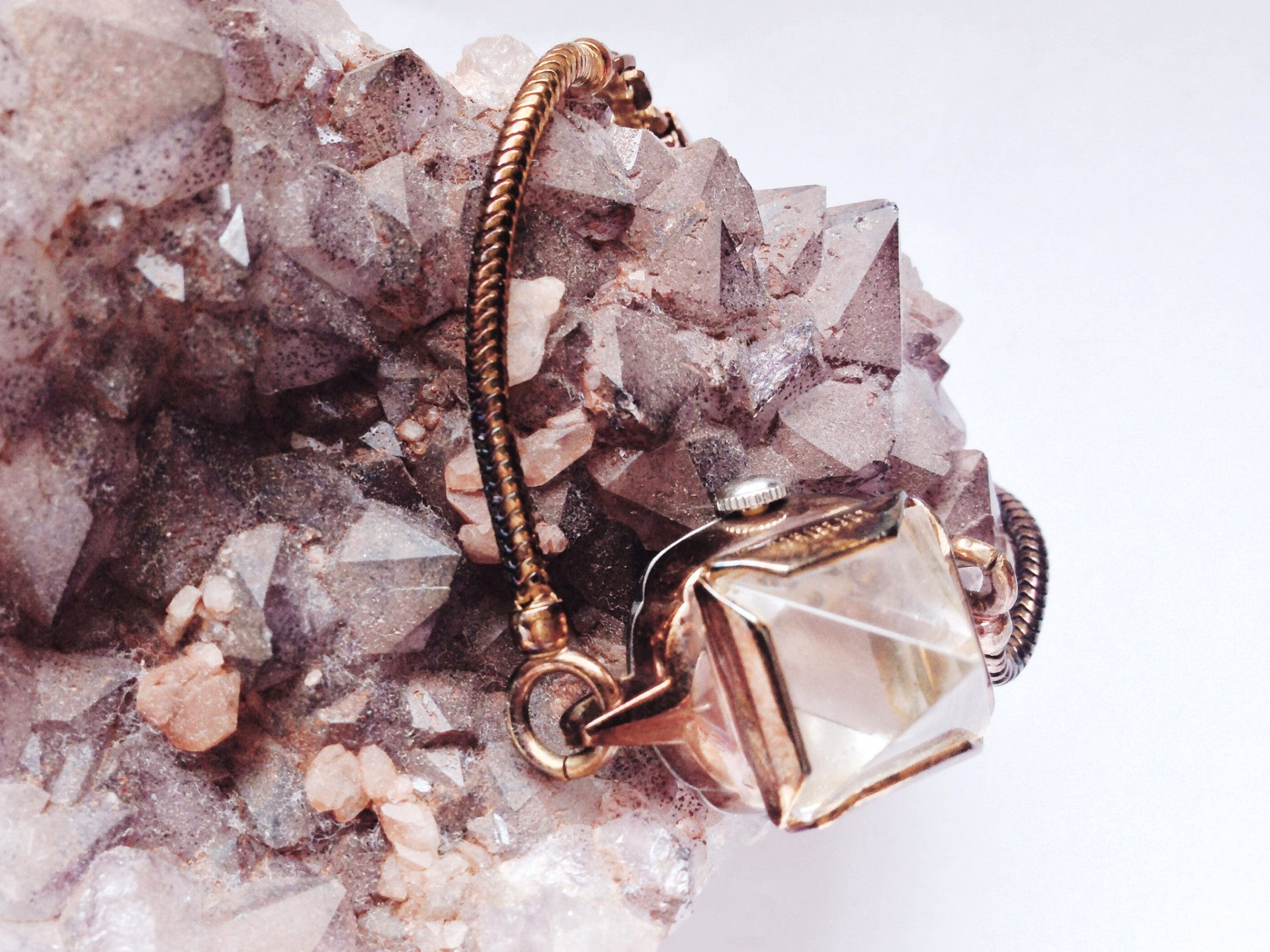 ROSE GOLD CRYSTAL PYRAMID WATCH - small