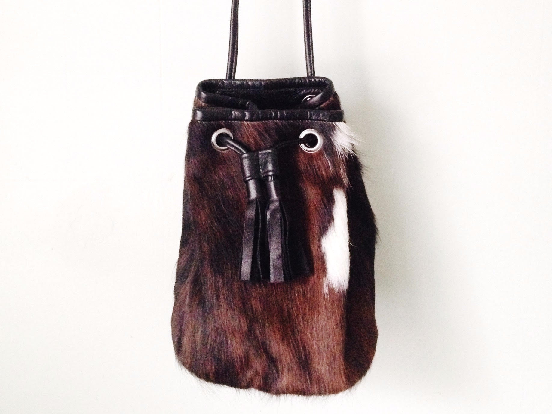 TRI COLOUR COWHIDE BUCKET BAG #1