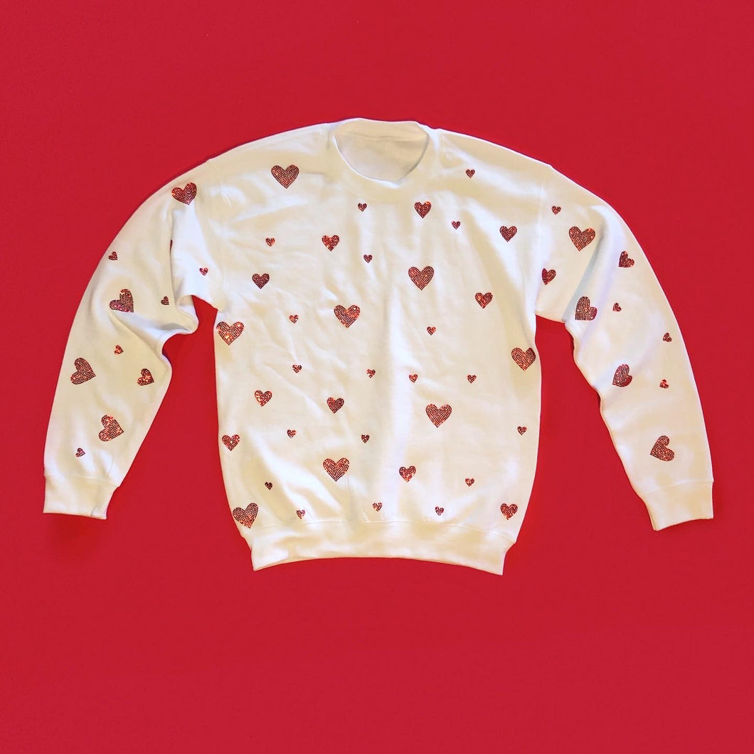 Crystal Hearts Crewneck | White