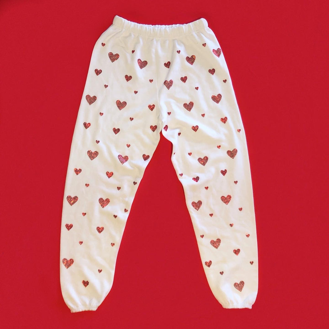 Crystal Hearts Sweatpants | White