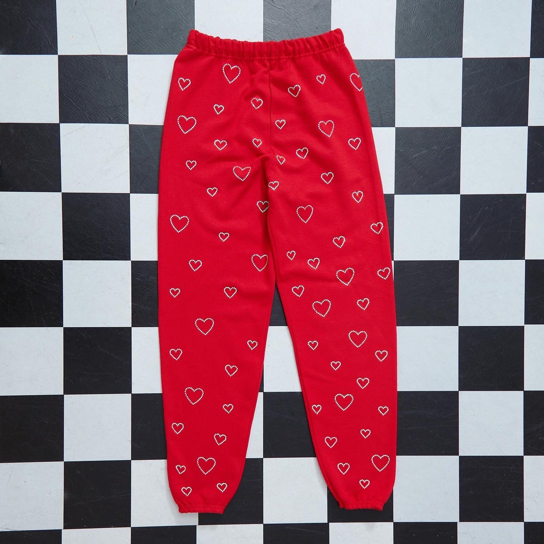 Crystal Hearts Sweatpants | Red