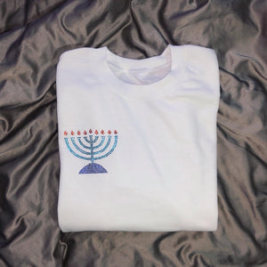 Crystal Menorah Crewneck