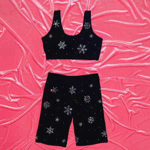 Crystal Snowflake | Sports Bra + Bikers