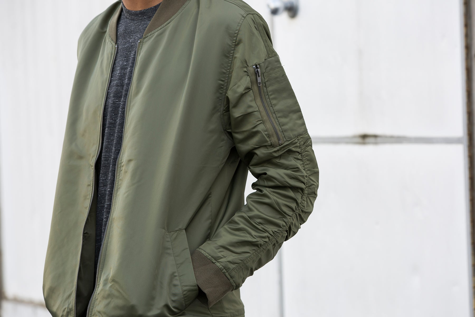 elwood clothing mens green olive nylon bomber jacket